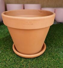 27cm Outdoor Garden Patio Plant Italian Terracotta Round Planter Pots Saucers