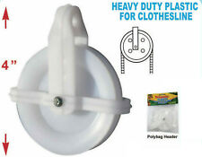"""2 PACK CLOTHESLINE PULLEY HIGH GRADE IMPACT PLASTIC 4"""" WHEEL WEATHER RESISTANT"""