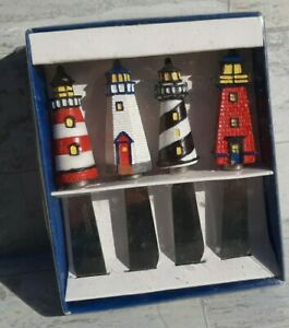 🌊 NEW IN BOX Lighthouse Spreaders Boston Warehouse Set of 4 #A21