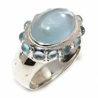 Aquamarine Natural Gemstone Handmade 925 Sterling Silver Ring Size 7 R-75