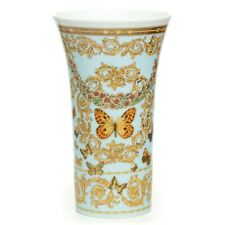 Versace X Rosenthal Gold Trim Butterfly Garden Porcelain Vase Multicolor Perfect