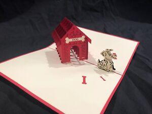 Dog House 3D Pop Up Card Puppy Dog Pet Happy Dog Walker Best Friend Canine Bone
