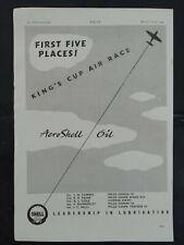 King's Cup Air Race - Aero Shell Oil - Aircraft - 1940's Magazine Advert #B4815