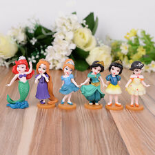 6PCS Disney Princess Cake Toppers Cinderella Ariel Figures Toy Decorations Gift