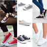 JUSTYOUROUTFIT WOMEN'S CANVAS FLAT LACE UP TRAINERS bk63