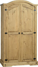 Corona 2 Door Wardrobe in Distressed Waxed Pine  Free Delivery