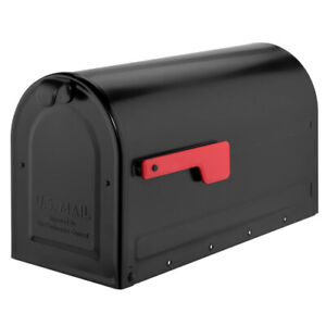 NEW Architectural Mailboxes MB2 Post Mount Mailbox Black with Red Flag