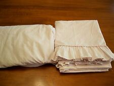 Laura Ashley Pink White Ticking Stripe Full Double Flat Fitted Percale Sheet Set