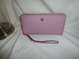 Tory Burch Emerson Wristlet Zip Continental Wallet Dusty Violet Saffiano Leather