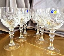 Crystal Glass Wine Champagne Set of 6 NEMAN  8 oz  250 ml  Vintage Russian Cut