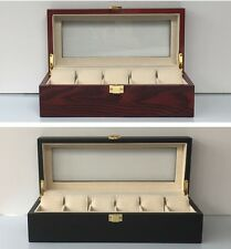 Wooden Watch Box Case Display Wood Jewellery Red Matte Black White Glass Top