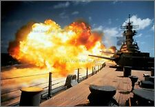 Photo: USS Missouri (BB-63) Iowa Class Battleship Fires 16in Guns, On Board View