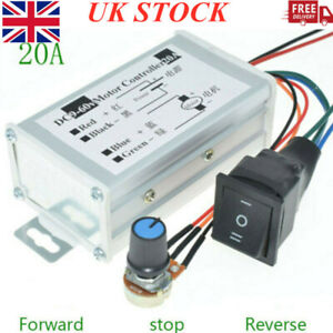 DC 9-60V 12V 24V 36V 48V 20A PWM Motor Speed Controller CW CCW Reverse Switch UK
