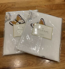 Pottery Barn Butterfly Embroidered Sheer White 100% Cotton Organdy Set 2 Panels
