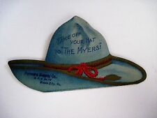 "Victorian Trade Card In the Shape of a Cowboy Hat ""Myers Pumps & Hay Tools"" *"