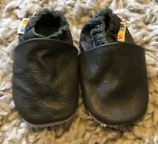 Baby yalion shoes, grey leather crib shoes, 6-12 months