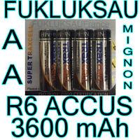 4 x PILAS AA pilas BATERÍAS RECARGABLES MIGNON 3600mAh Ni-MH 1, 2V R6 LR06 NUEVO