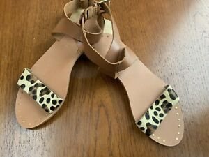 NEXT SANDALS FLAT UK 5 38 Size Womens NEW Leopard Print Leather Real Strappy