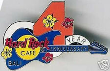 """Hard Rock Cafe BALI 1997 4th Anniversary PIN Blue Guitar Red """"4"""" & Flowers #664"""