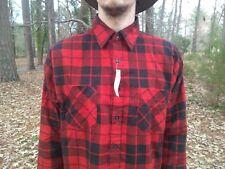 0639172925 NOS Vintage Ozark Trail Sz LARGE Red Black Plaid Flannel Shirt USA