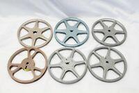 """8mm Metal Movie Film Take Up Reel 5"""" 200' & Can Scherer Kenco Goldberg 6 Reels"""