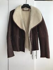 ZARA Double Breasted Shearling Jacket in Brown, size Medium