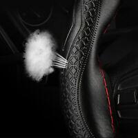 DIY Black 38cm Genuine Leather Car Steering Wheel Cover Embossing Needles&Thread
