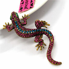 Betsey Johnson Blue&Red Crystal Rhinestone Lizard Gecko Pendant Brooch Pin Gift