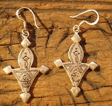 Silver Moroccan fibula  hand engraved earrings with silver hooks