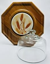 Vintage Goodwood Glass Cheese and Crackers  Dome and Octagon Teak Wood Tray