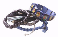 6 Pack -blue Beaded,Leather,Braided,Religious Rosary Jesus Bracelet(Zx60TR/188)