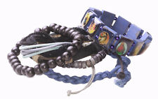 6 Pack -blue Beaded,Leather,Braided,Religious Rosary Jesus Bracelet(Zx60/188)