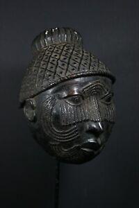 African Benin Bronze OBA Queen Mask - Benin, Nigeria TRIBAL ART CRAFTS PRIMITIF