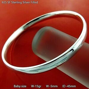 Bangle Real 925 Sterling Silver Filled Solid Baby Girl Size Cuff Bracelet 45mm