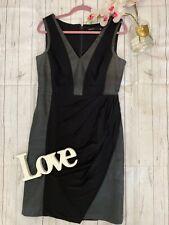 Karen Millen Size 14 black faux leather fitted smart work office business dress