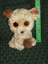 "TY Beanie Boo medium 9"" ROOTBEER Dog Solid eyes MWMT Purple tag retired HTF"