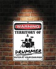 Warning Territory Of a DRUMMER 9x12 Predrilled Aluminum Sign Free US Shipping