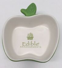 Edible Arrangements Green & White Ceramic Apple Serving Dish Bowl
