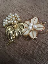 With Enamel. Both Intact Brooches Two. Pearl Flowers. One