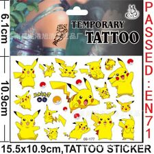 Pokemon Go Pikachu Temporary Tattoo Sheet Children Kid Birthday Party Bag Filler