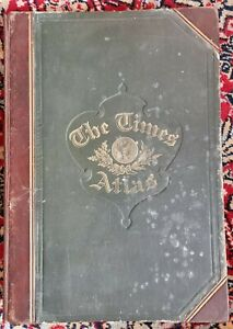 1895 The Times Atlas Complete 173 Undamaged Frameable Maps 117pp Hb Leather VGC
