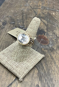 Barse Forget Me Not Ring- Quartz Crystal- -Bronze- 7.5- NWT