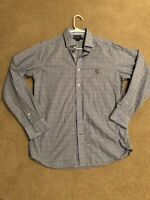 Cremieux Collection Mens Slim Fit Large Blue Plaid L/S Button Down Shirt PERFECT
