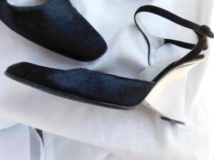 PRADA architectural RUNWAY BLACK ponyHAIR shoes UNIQUE ivory HEELS rare 38.5 8.5