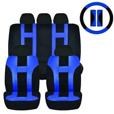 12PC BLUE & BLACK DOUBLE STITCH SEAT COVER & STEERING WHEEL COMBO FOR CARS 1023