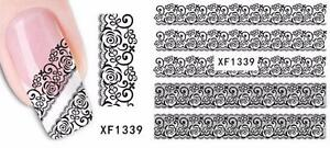 Black Lace 3D Nail Art Sticker Decal Decoration Manicure Water Transfer