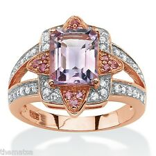 EMERALD CUT AMETHYST ROSE GOLD OVER STERLING SILVER RING SIZE 6 7 8 9 10