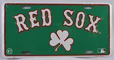 BOSTON RED SOX GREEN CLOVER LICENSE PLATE Embossed Metal Tin NEW Baseball MLB