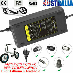 24-60V Ebike Battery Charger 2A-5A Scooter Power Adapter For Lithium Lead-Acid