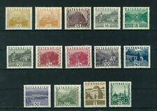 Austria 1929 Landscapes full set of stamps. Mint. Sg 646 -659
